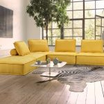 divani casa nolden modern yellow fabric sectional sofa