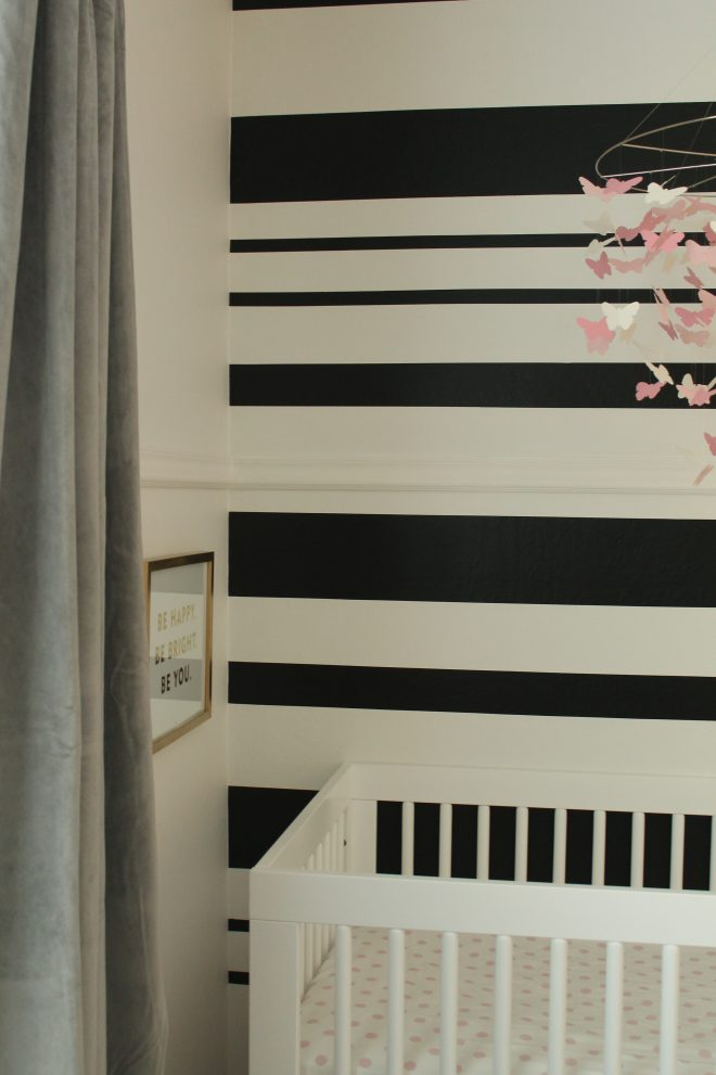 diy black white stripe wall house to home blog
