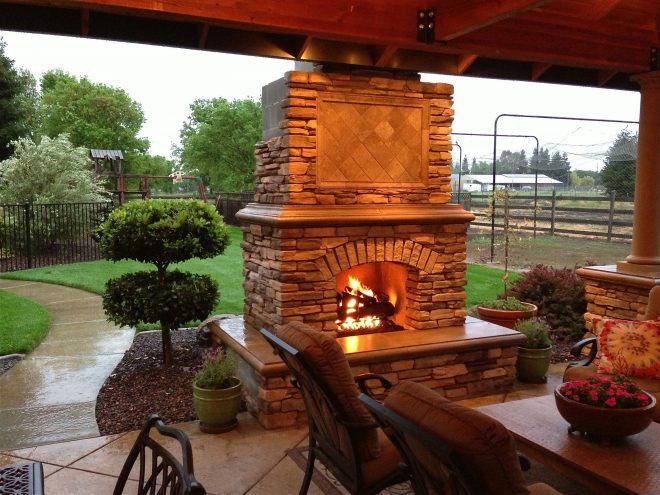 diy outdoor fireplace project