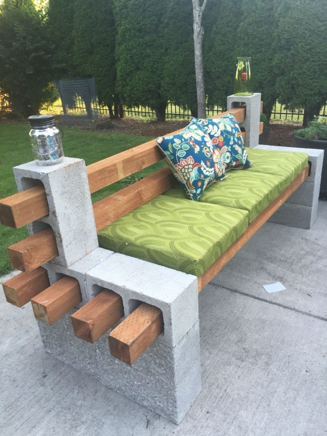 diy patio furniture cinder block bench with back garden