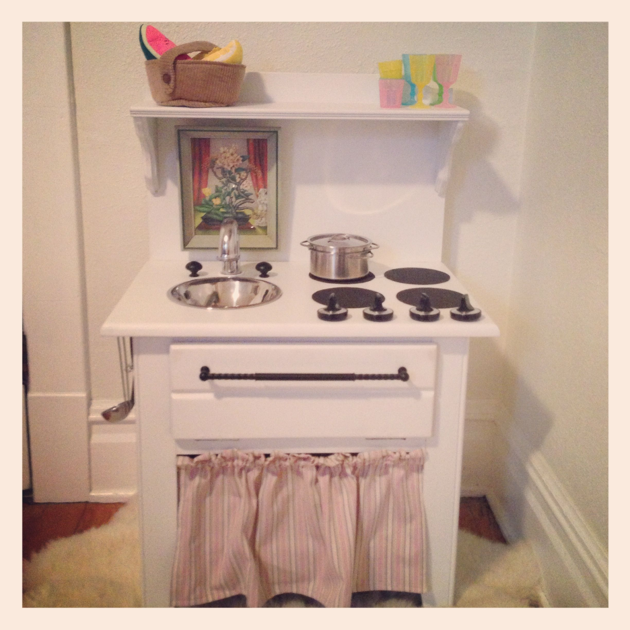 diy play kitchen from 5 side table completed craft pinterest