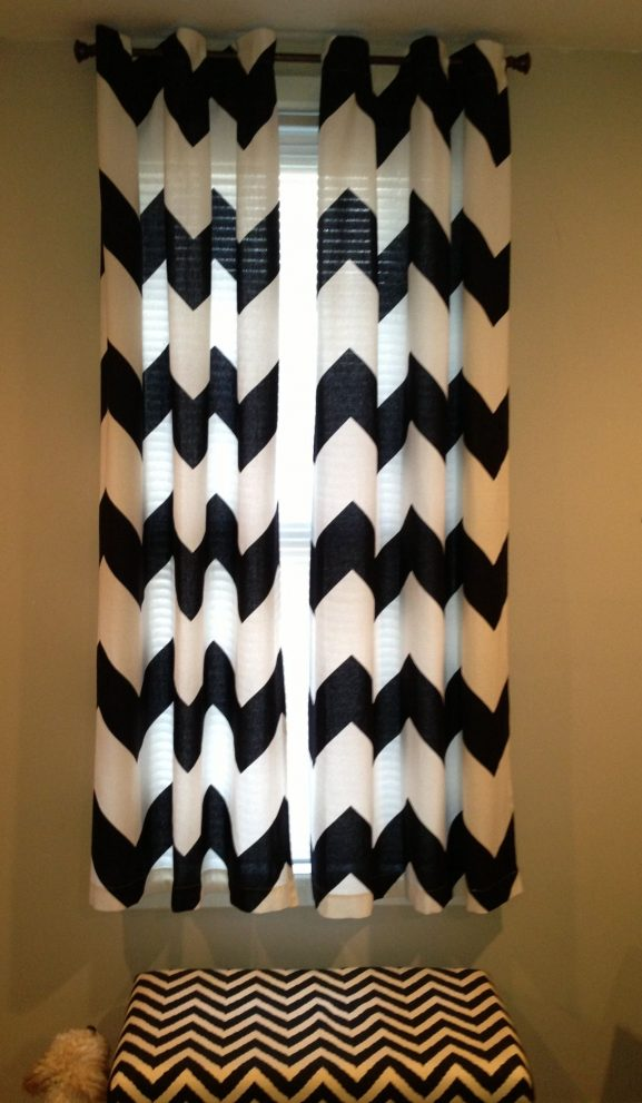 diy short black white no sew chevron curtains made for my