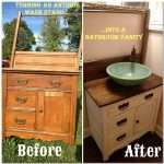 diy turning an antique wash stand into a bathroom vanity
