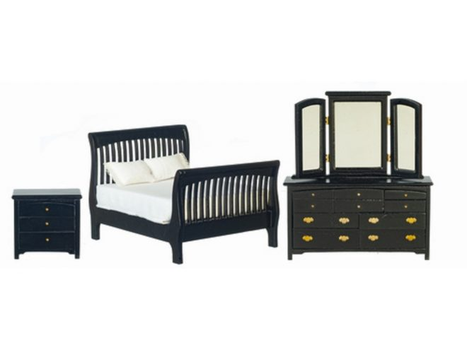 dolls house black double bedroom furniture set with slatted sleigh bed 112