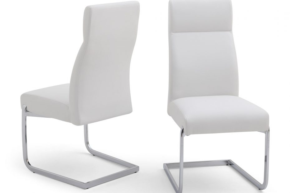 donatello white leather dining chair