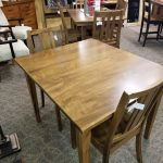 dover table set shown in brown maple with a hoosier special finish