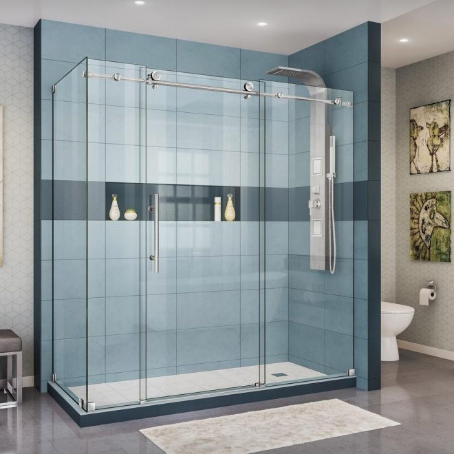 dreamline enigma x 34 12 in d x 72 38 in x 76 in h frameless corner sliding shower enclosure in brushed stainless steel