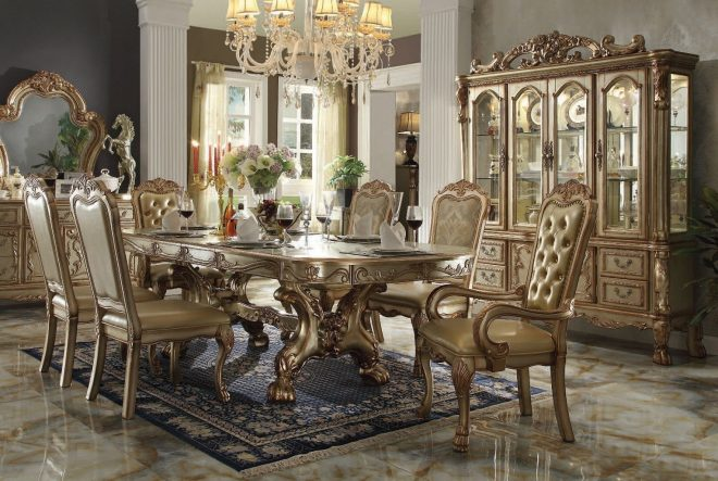 dresden dining room set gold patina