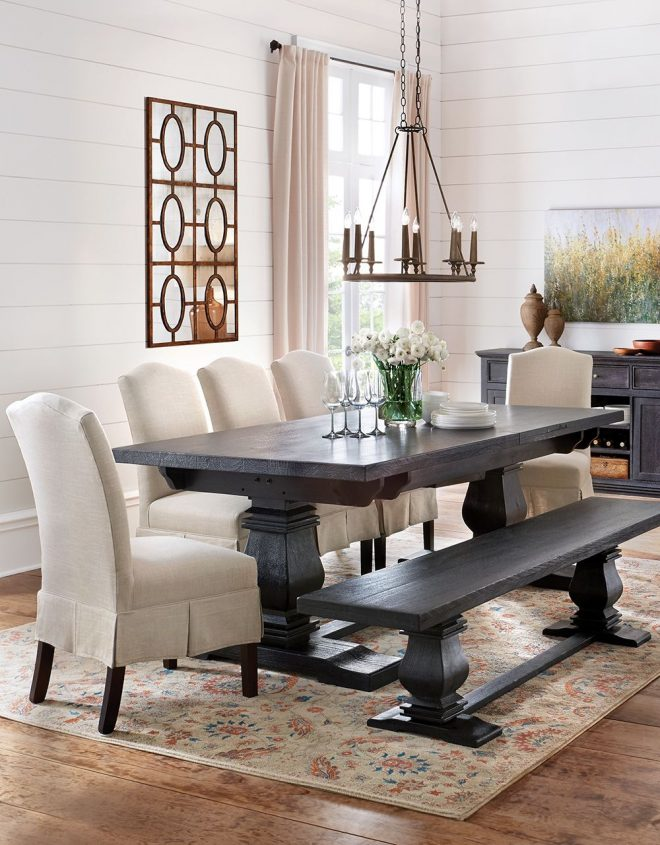 dress up the dining table with skirted upholstered dining