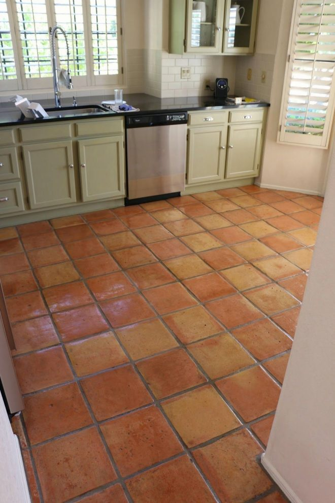 dusty coyote stripping and sealing a saltillo tile floor