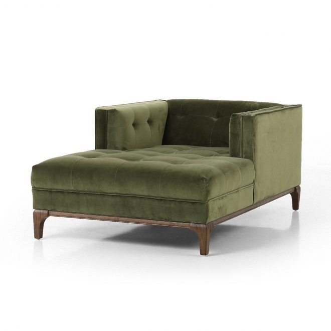 dylan green velvet tufted midcentury chaise lounge in 2019