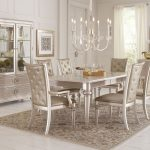 dynasty gold metallic extendable rectangular leg dining table