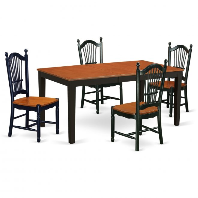 east west furniture nido6 bch w 6 pc dining room set with bench kitchen tables and 4 dining chairs plus bench in black and cherry finishblack