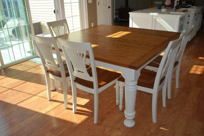 easy diy modern square farmhouse dining table with oak top