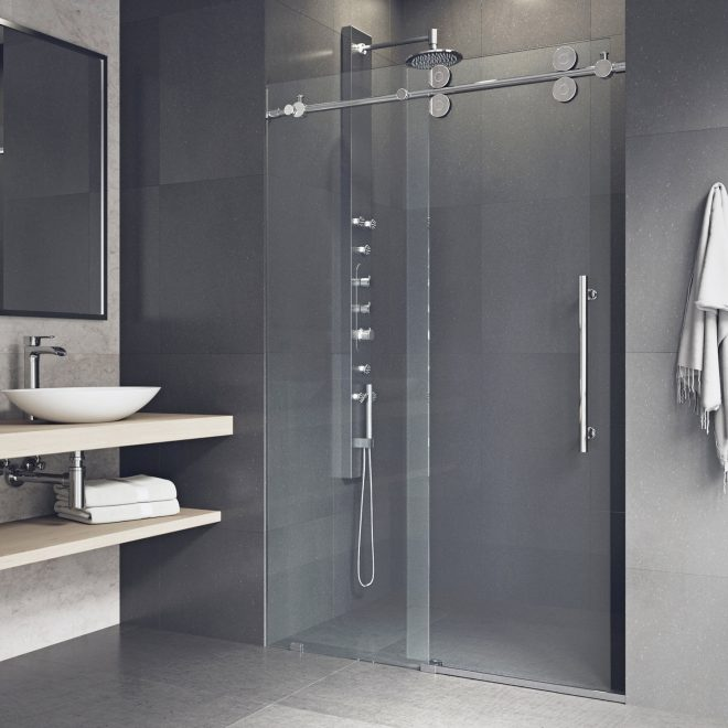 elan 64 x 74 single sliding semi frameless shower door