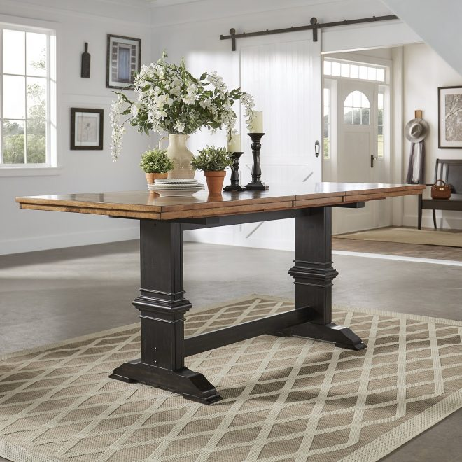eleanor solid wood counter height trestle base dining table inspire q classic