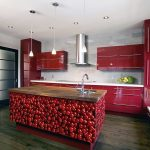 elegant design red kitchen ideas features red cherry picture theme