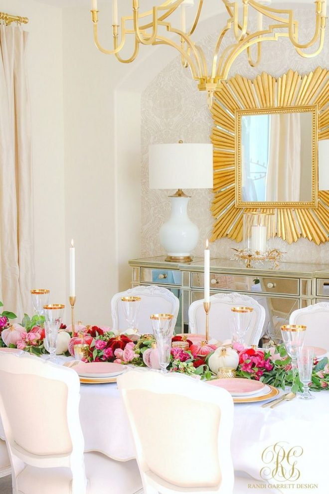 elegant pink and gold thanksgiving table diycraftshome