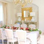 elegant pink and gold thanksgiving table tablescapes