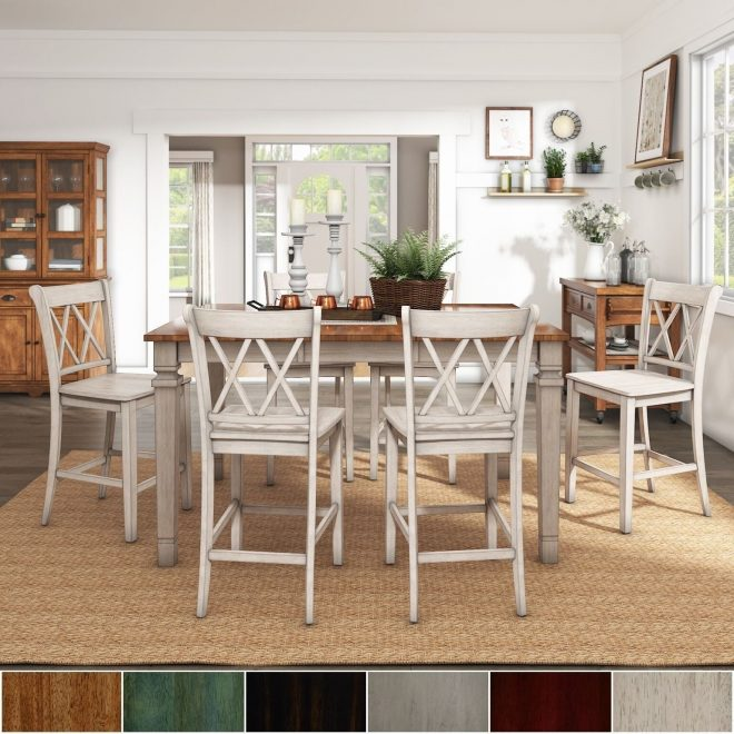 elena antique white extendable counter height dining set double x back inspire q classic
