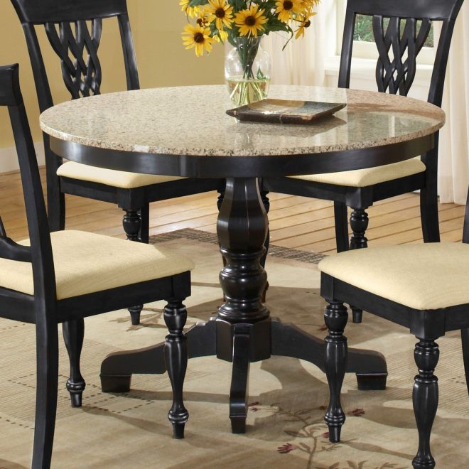 embassy round pedestal table with 42 inch granite top black
