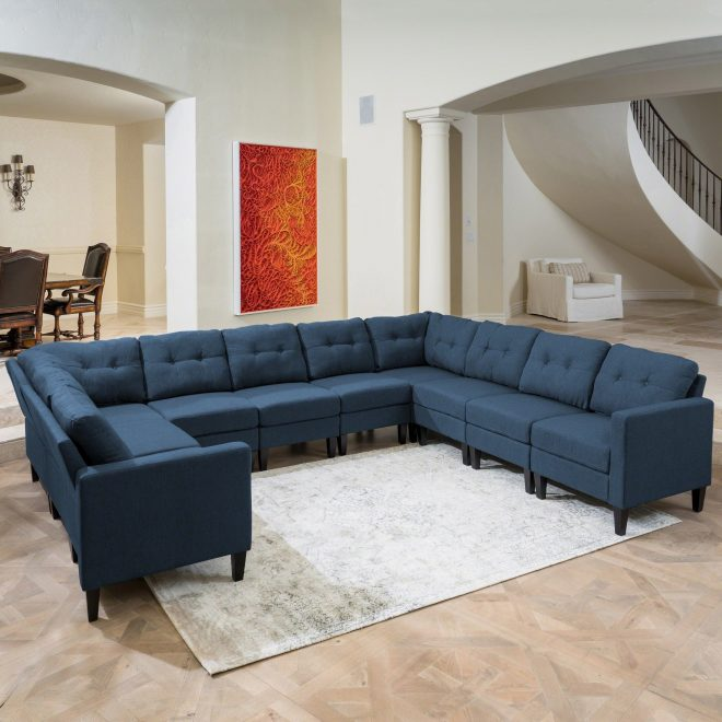 emmie mid century modern 10 piece u shaped sectional sofa set christopher knight home