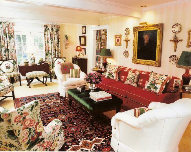 english country living room reds florals english country