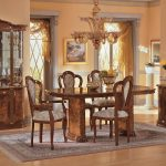 esf milady walnut classic italian dining table set 7pcs made