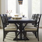 everyday dining trestle dining table with leaf and 6 upholstered side chairs rachael ray home legacy classic at belfort furniture