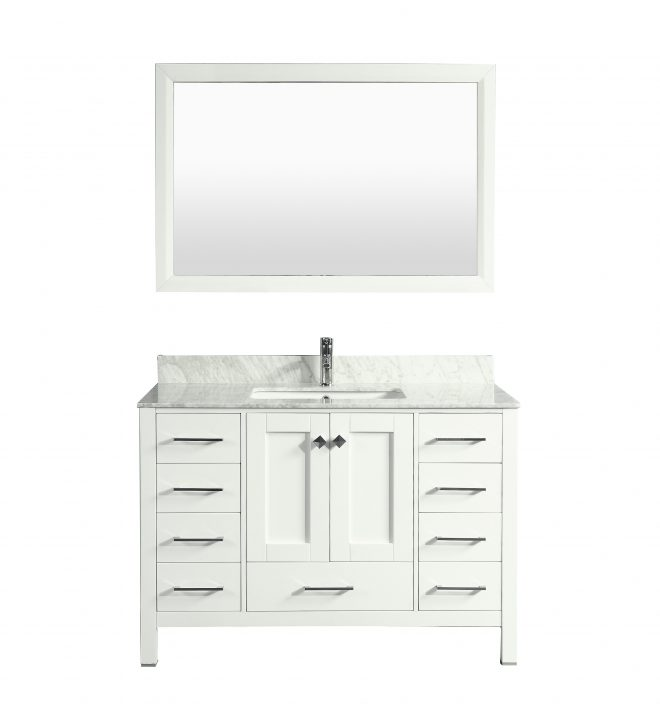 eviva aberdeen 42 in transitional white bathroom vanity with white carrera countertop