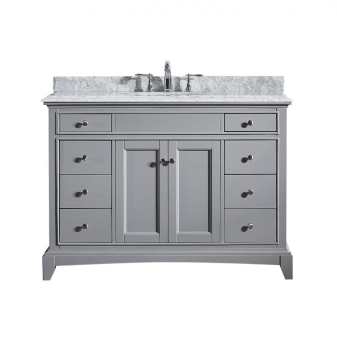 eviva elite stamford 42 in grey solid wood bathroom vanity set with double og white carrera marble top and white undermount porcelain sink