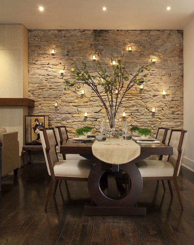 exquisite dining rooms with stone walls home decor pinterest