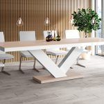 extendable dining table virginia cappuccino white high gloss