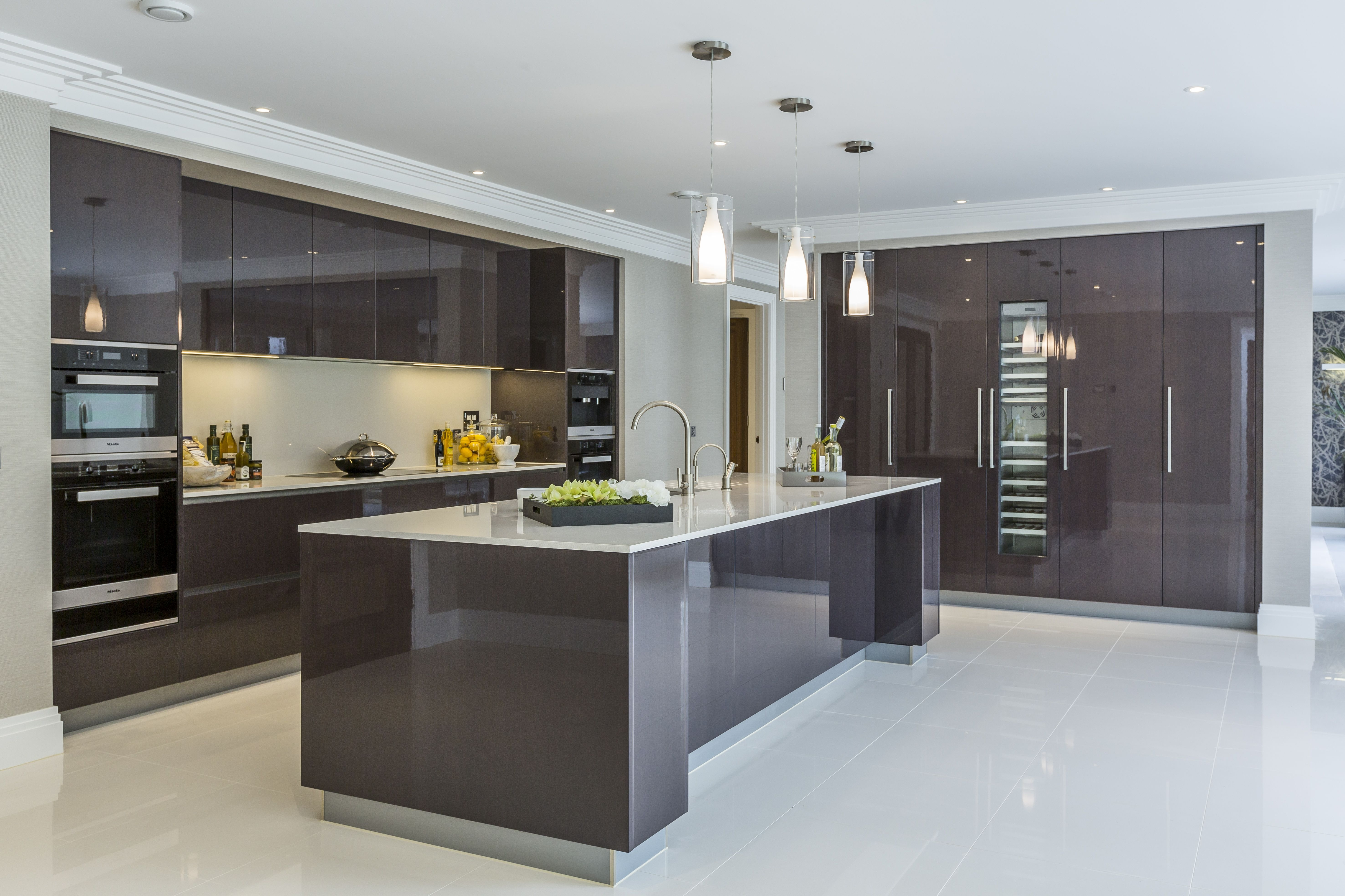 extreme contemporary minimal high gloss kitchen design in private