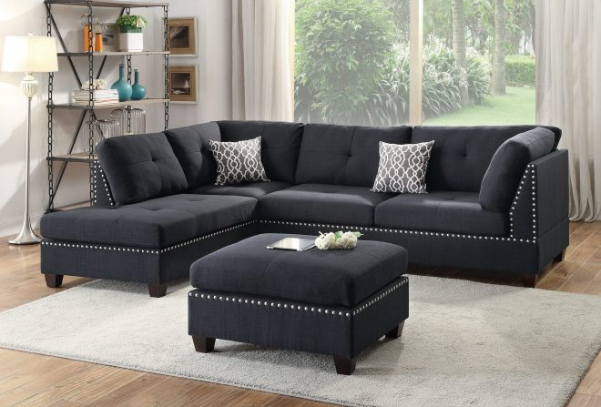 f6974 black 3 pcs sectional sofa set poundex