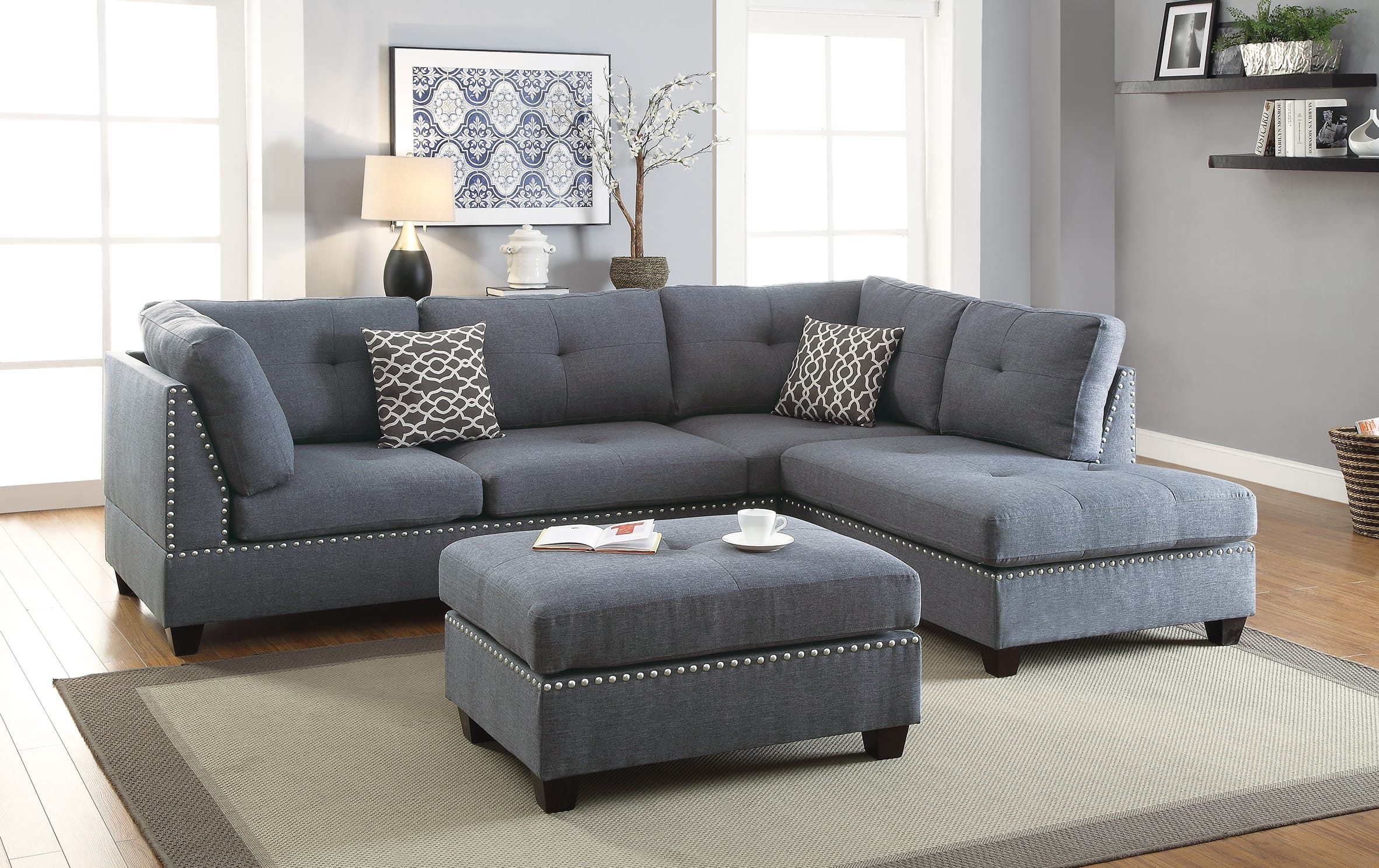 f6975 blue gray 3 pcs sectional sofa set poundex