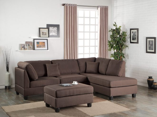 f7608 chocolate 2 pcs sectional sofa set poundex
