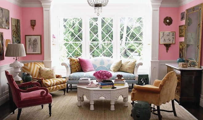 fabulous vintage living room design with pink wall paint color ideas