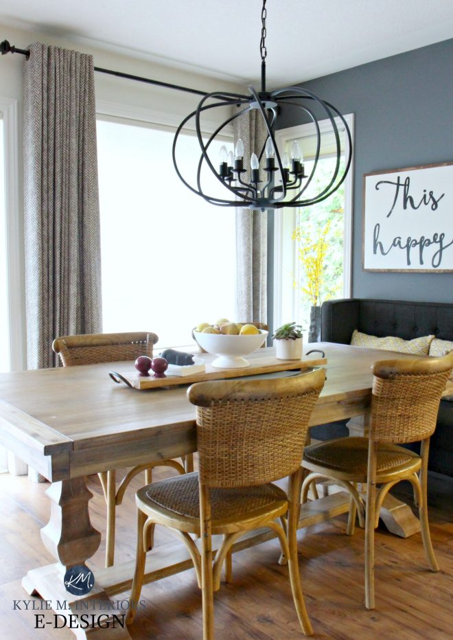 farmhouse dining table with wicker chairs chandelier kylie m e design