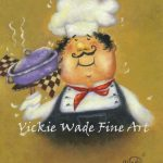 fat chefs art print fat chef kitchen art kitchen decor chef paintings chef prints purple pot chef cook whimsical vickie wade art