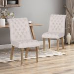 fieldmaple tufted fabric dining chair set of 2 christopher knight home