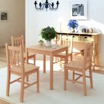 five piece square dining table 4 chairs set pinewood kitchen home