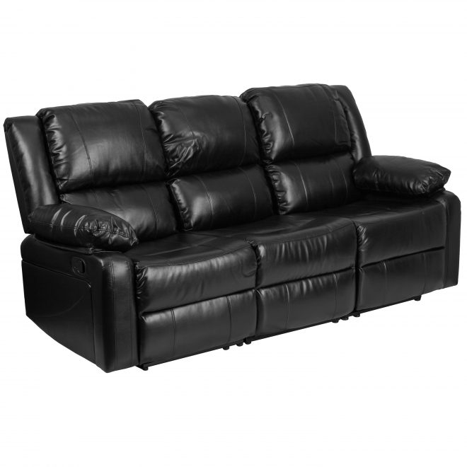 flash furniture harmony series black leather sofa with two built in recliners walmart