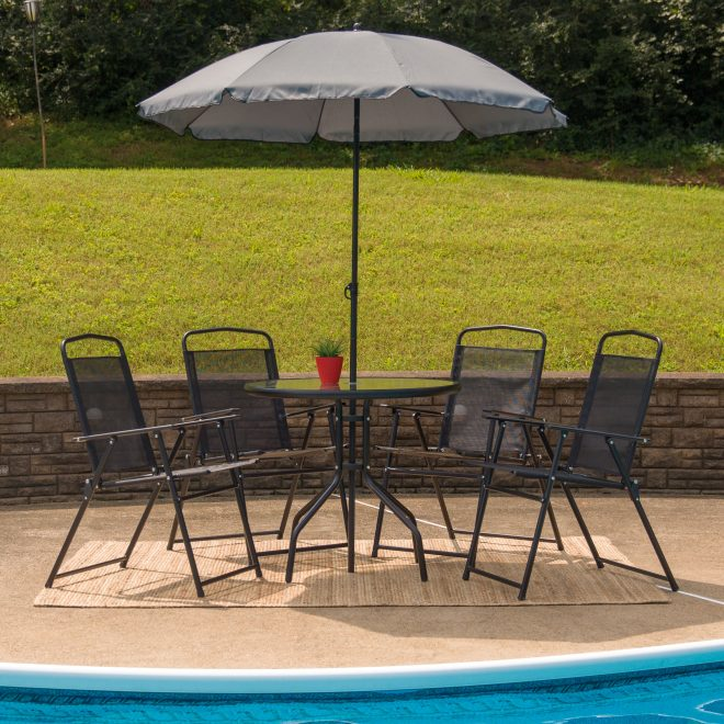 flash furniture nantucket 6 piece black patio garden set with table umbrella and 4 folding chairs