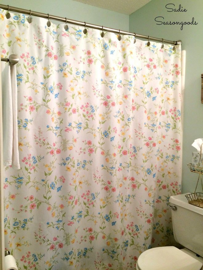 floral shower curtain for a cottage bathroom from vintage
