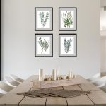 flower drawing set of 4 botanical watercolor prints dining