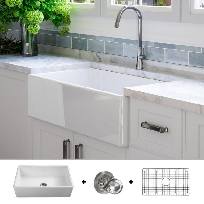fossil blu luxury 33 inch fine fireclay modern farmhouse kitchen sink in white single bowl flat front includes grid and drain