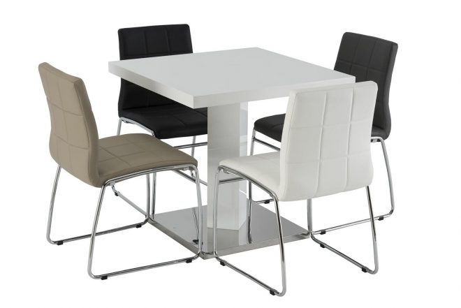 frankie small square white gloss dining table 80cm