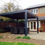 freestanding outdoor living pod louvered roof patio canopy