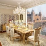 french royal solid wood golden color 6 person dining tabledining room furnituremoq1 set buy french royal dining tablefrench wooden dining room